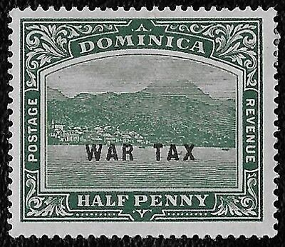 + 1918 Dominica View of Capital War Tax Overprint #MR2 A6 1/2p MH unused