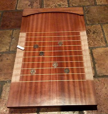 Vintage Traditional Shove Halfpenny Wooden Board Game With 5 Old Halfpennies