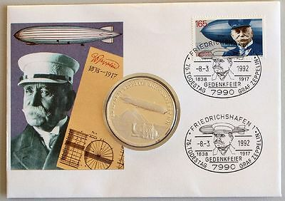 GERMANY 1992 Zeppelin Medal FDC, Aviation, Airship