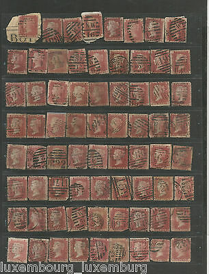 NOV 127 Great Britain - Victoria Penny Red 1d mixed plate numbers & issues $$