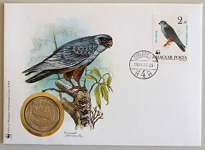 HUNGARY 1988 Falcon COIN FDC, WWF, Birds, Nature Protection