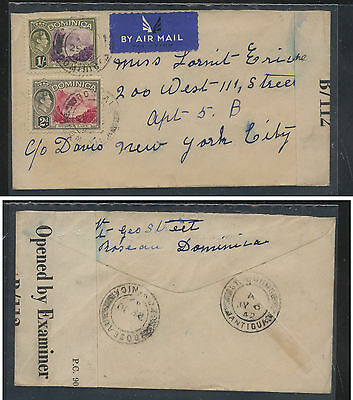 Dominica  100,106    on censor cover to US   1942         KEL1127