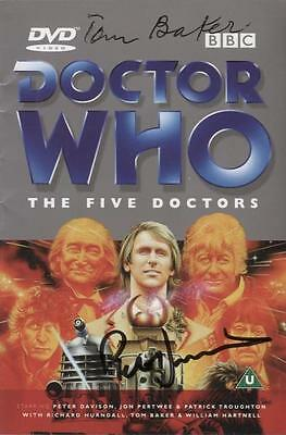 SIGNED x 2 Doctor Who Five Doctors DVD Insert Booklet Tom Baker Peter Davison