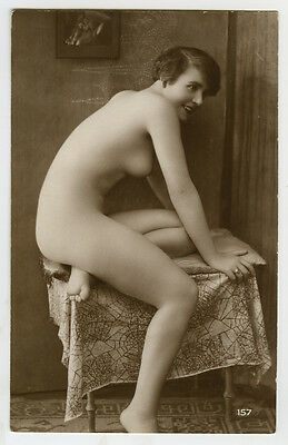 1920s Vintage Sexy Beauty French Slim PRETTY NUDE Flapper photo postcard