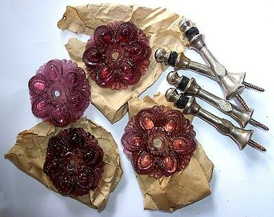 2 PAiR GLASS FLORAL FLOWER ROSETTE CURTAiN TiEBACKS AMETHYST NOS NEVER iNSTALLED