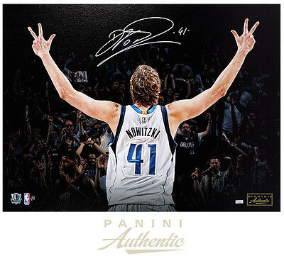 """DIRK NOWITSKI Autographed """"Three"""" 24x32 Stretched Canvas PANINI LE 41"""