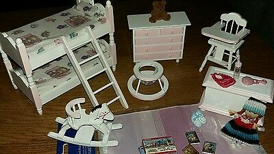 Dolls House White Nursery Childs Bedroom Furniture Bunk Beds Drawers Mixed Lot