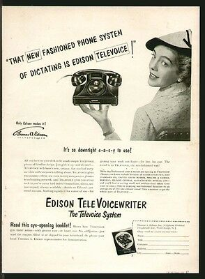 "EDISON TeleVoicewriter 1952 ""New Fashioned Phone System"" Original Print Ad"