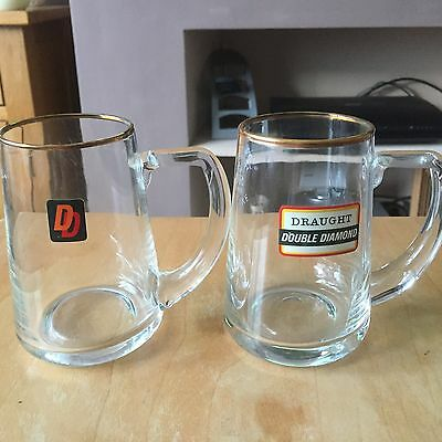 Double Diamond Half Pint Beer Glasses X2 (ER Stamped) 1960s/1970s