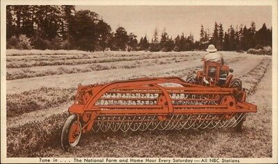 Allis Chalmers Farming Tractor Side Delivery Rake & Tedder Adv Postcard