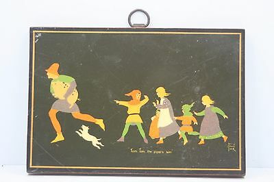 Antique Children Picture Wall Hanging Tom Tom The Piper's Son Jenny Oliver Dick