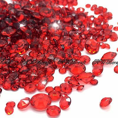 Dark Red Mixed Sizes Scatter Diamonds Wedding Party Table Confetti Crystal