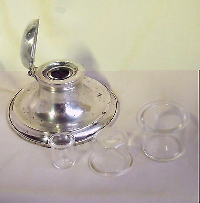 CHOICE OF REPLACEMENT SMALL GLASS INK LINER INSERTS ~ Liners for Silver Inkwells