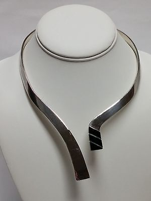 HEAVY Hinged Mexican STERLING SILVER 925 ONYX Collar CHOKER Necklace 111 GRAMS