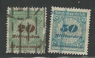 2 Germany Stamps Scott #298 & 299 from Quality Old Album 1923