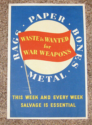 VINTAGE WWII era BAGS - PAPER - BONES - METAL - WASTE IS WANTED PATRIOTIC POSTER