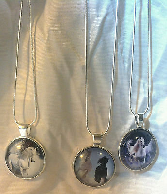3 RUNNING HORSES GLASS DOME HORSE PENDANTS SS Snake Chain marked Italy BLUE TINT