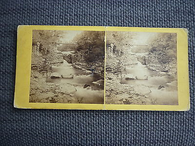 Stereoview Nice Early Image The Linn Of Quoich Braemar Scotland Card No 35