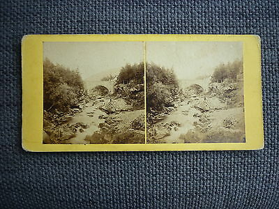 Stereoview Nice Early Image Of Bridge On The Cluny Braemar Scotland Card No 57