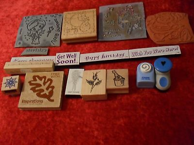 Selection Of Stamps And Two Punches For Card Making