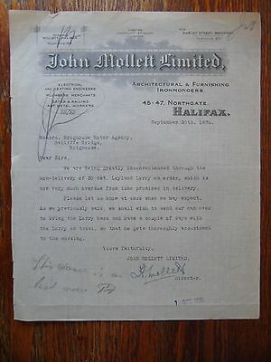 Vintage Letter - John Mollett Limited of Halifax to Brighouse Motor Agency 1924