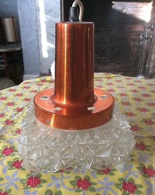 Vintage Glass And Copper Ceiling Light Mid -Century Danish