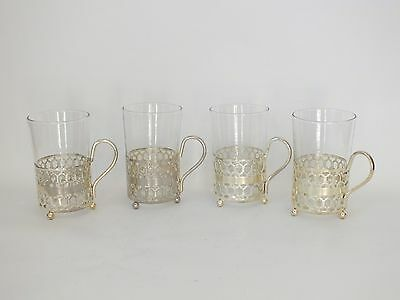 4 Vintage Silver Plated Glass Coffee Cups Liqueur Latte