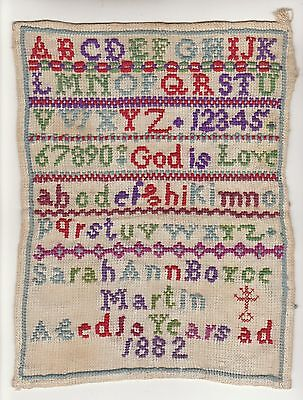 Sampler  -  Beautiful  &  Rare  Victorian  Child's  Sampler  Of  1882