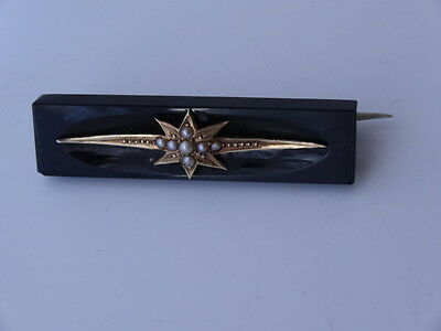 Antique 9Ct Gold & Seed Pearl Black Bar Brooch