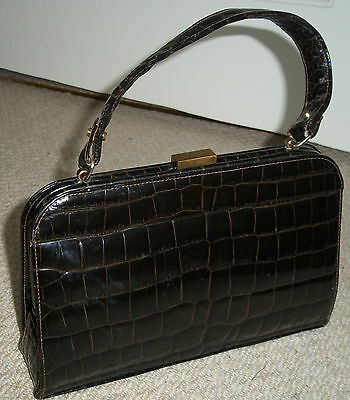 STUNNING CHIC VINTAGE 1950's BROWN GENUINE CROCODILE LEATHER BOXY CLASP HANDBAG