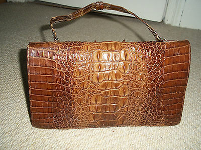 Stunning Vintage Tan Genuine Hornback Crocodile Skin & Leather Handbag/clutch