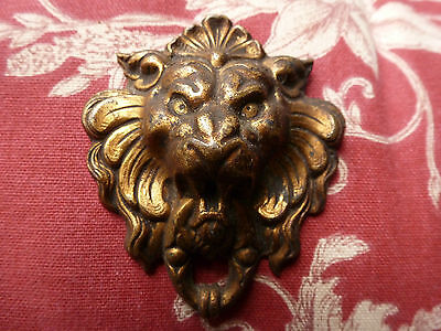 Antique French Lions Head Gilt Toleware Picture Hook Cover.
