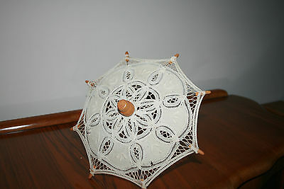 Lace Wooden Doll Umbrella Good Condition