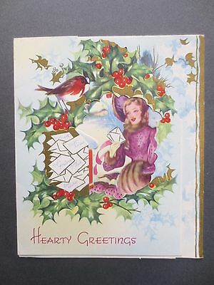 VINTAGE Christmas Card Crinoline Lady Robin Holly Letters Cut Out 1950s