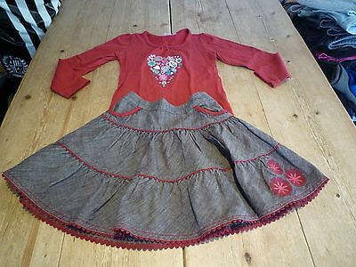 Gorgeous LAURA ASHLEY Extra Pretty Skirt & Top Outfit Set, Red & Brown, 4-5 yrs
