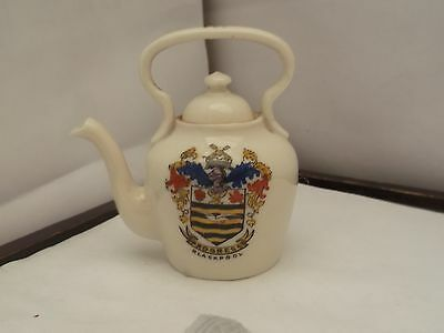 Model Of A Kettle With Lid Crested Blackpool By Anglo Heraldic China