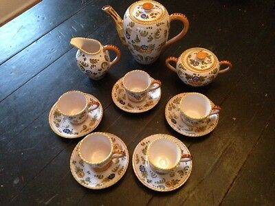 Hand-painted majolica tea set, 13 pieces, Italy