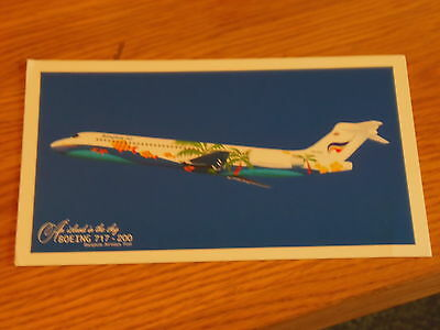 Airline Issued colour postcard of Bangkok Air B717-200:(HS-PGP)