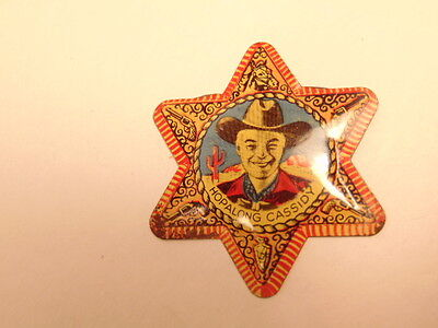 Old tin Hopalong Cassidy toy badge/  cereal premium Post's Raisin Brand -no pin