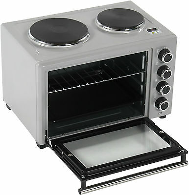 Reboxed Charles Jacobs Portable 33L 1600W Mini Oven Grill Double Plates Silver