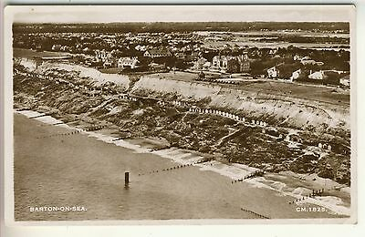 A Real Photo Aerial View Post Card of Barton-On-Sea. Hampshire