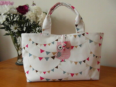 NEW kNITTING / CRAFT BAG  OWLS AND BUNTING 100% COTTON FABRIC -  LINED