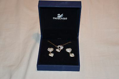 Genuine swarovski crystal heart necklace and earring set