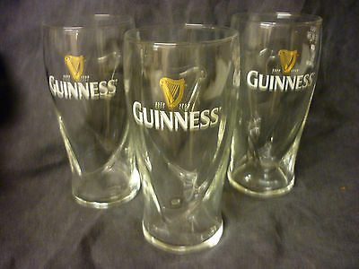 New Three Guinness Harp Beer Bar Pint Gov Stamped Glasses Set Of 3