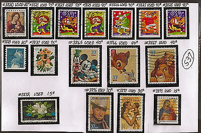 US 16 2003-04 John Wayne/Disney+ Stamps Used(11-12 YrsOld)VF NH Scott3820-79 S73