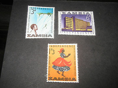 Zambia 1964 Independence SG91-93 Set of 3 good clean used stamps.