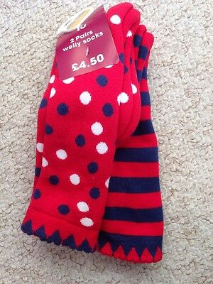 Girls Thick Wellington Knee High Socks Size 9-12 BNWT 2 Pack *Cheap Combined P&P