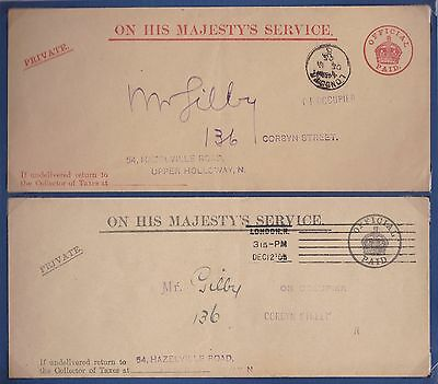 1905 x 2 OHMS RED & BLACK OFFICIAL PAID COLLECTOR OF TAXES LONDON COVERS