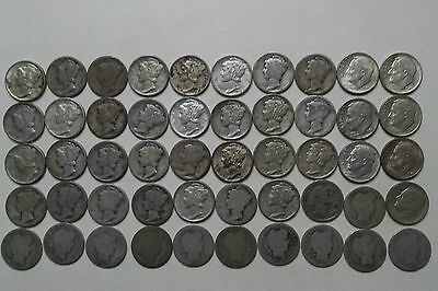 50- Silver dimes, Barber, Mercury and Roosevelt