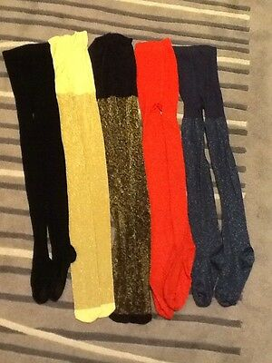 Girls Tights, Black, Red, Gold, Blue, Sparkly - Age 10/11/12 New